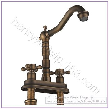 L16375 - Luxury Deck Mounted Brass Material Hot & Cold Water Double Handle Cabinet Faucet