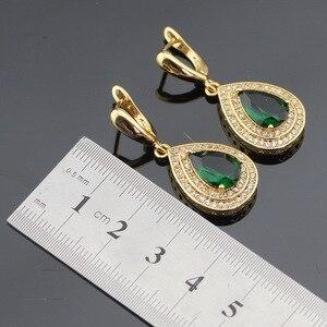 Image 4 - Pedras verdes cor do ouro conjuntos de jóias para mulheres pulseira brincos colar pingente anéis caixa de presente livre