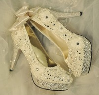 High Heel Full Rhinestone Pearl Wedding Shoes Ivory For Women Platforms Bow Bowtie Luxury Bridal Brides