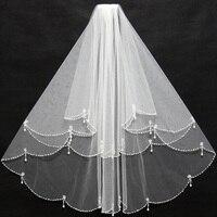 Элегантные Короткие слоновая кость фату Бисер края оборками со вставкой гребень дешевые для свадьбы одежда для невест 11038
