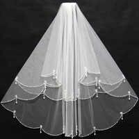 Elegante Kurze Elfenbein Braut Schleier Perlen Rand Rüschen mit Einsatz Kamm Günstige für Hochzeit Braut Tragen 11038