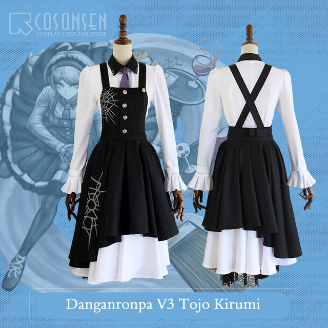 COSPLAYONSEN New DanganRonpa V3 Tojo Kirumi Dangan Ronpa V3 Halloween  Cosplay Costume Full Set Women Dress 38144490b563