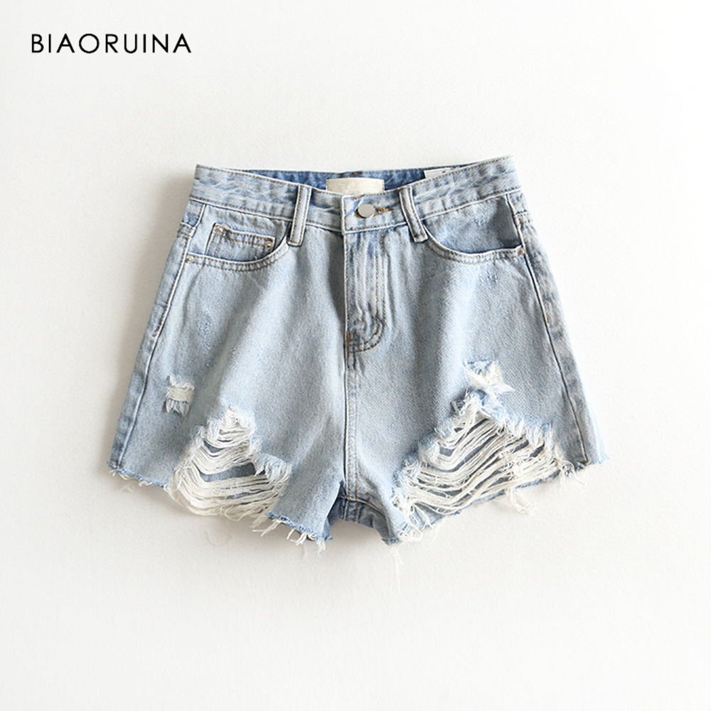 BIAORUINA Women Vintage Washing Bleached Denim   Short   Female Scratched Holes Fashion   Short   Tassels All-match Casual Denim   Shorts