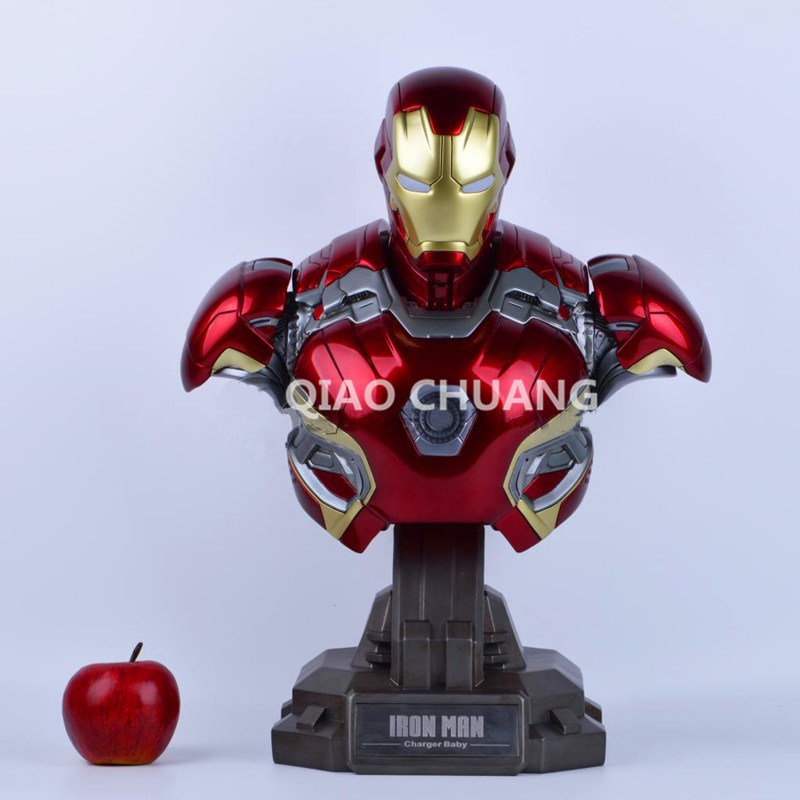 Statue Avengers Iron Man Bust 1:2 MK45 Half-Length Photo Or Portrait Resin POWER BANK Can Be Glowing Action Figure Model Toy W25