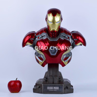 Statue Avengers Iron Man Bust 1:2 MK45 Half Length Photo Or Portrait Resin POWER BANK Can Be Glowing Action Figure Model Toy W25
