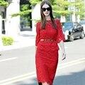 Топ женская Мода Элегантный Тонкий Бисером Twin Set С Длинным Рукавом блузка + Bodycon Юбка Кружева 2 Шт. Набор Костюмы С Поясом Высокого качество