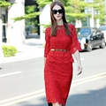Top Fashion Women's Elegant Slim Beading Twin Set Long Sleeve Blouse+Bodycon Skirt Lace 2 Piece Set Suits With Belt High Quality