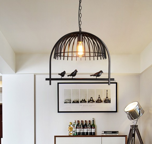 Loft Style Creative Cage Pendant Light Fixtures Edison Vintage Industrial Lighting Indoor Dining Room Iron Bird Hanging Lamp
