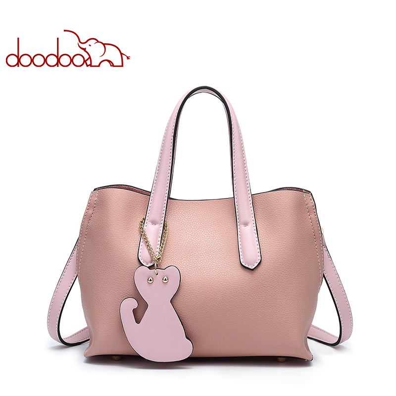 DOODOO Women Handbag Tote Bag Female Shoulder Crossbody Bags Ladies Pu Leather Top-handle Kitten Pendant Small Messenger Bags 2017 luxury winmax women handbag scrub pu leather shoulder bags female fashion beading top handle tote bags ladies messenger bag