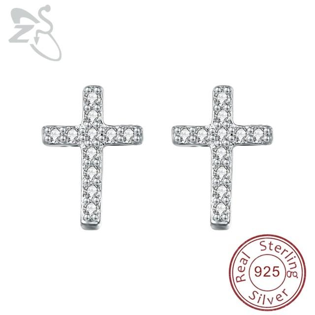 Sterling silver stud earrings with Cross eYxMMK2F
