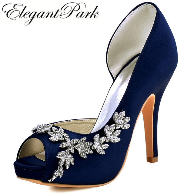 Woman High Heel Platform Bridal Wedding Shoes Navy Blue Purple Peep Toe Rhinestones Satin Bridesmaids Lady