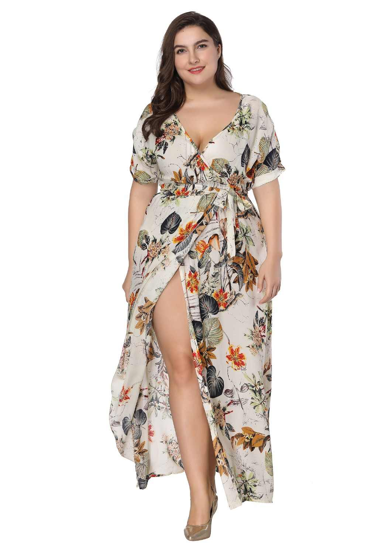 Женское длинное Макси платье Плюс Размер 6XL 7XL 2019 летнее платье с цветочным принтом пляж в стиле бохо повседневное вечернее платье с коротким рукавом vestidos