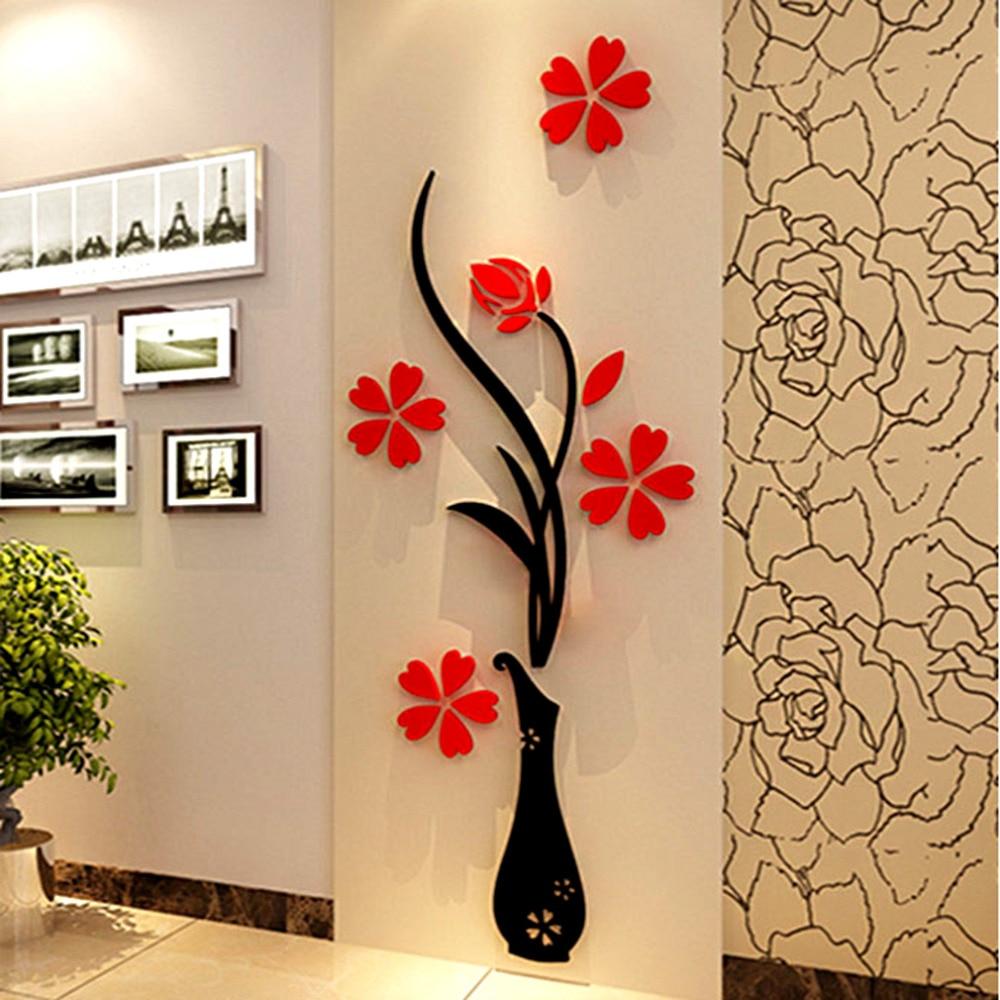 New Vase 3D Acrylic Crystal Three-dimensional Wall Stickers Tv Background Wall Entranceway Hallway Home Decoration Drop Ship