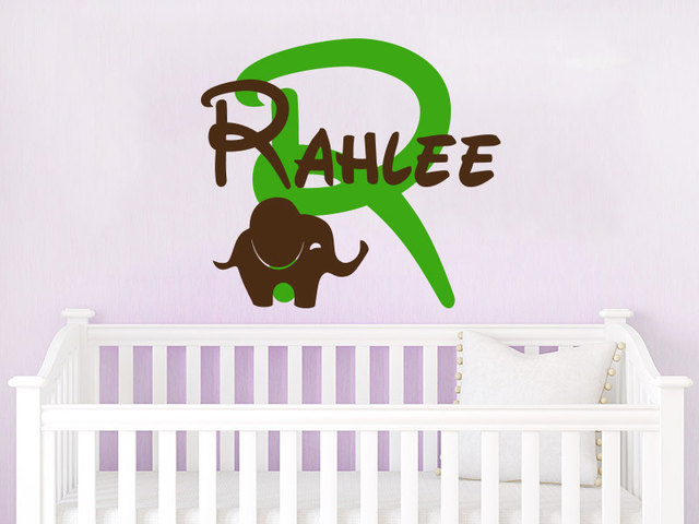 Customized Name Wall Decal Elephant Initial Vinyl Decals Sticker ...