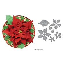Swovo Poinsettia Flowers Wedding Die Craft Metal Cutting Dies for Scrapbooking for DIY Carbon Steel Embossing Paper Art Card(China)