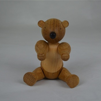Wholesale Nordic Denmark Solid Oak Wood Bear Ornament Animal Home Decoration Figurines Puppet kids Gifts Toys/Free Shipping