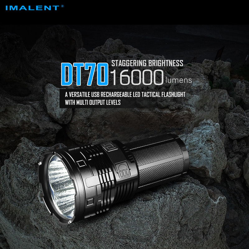 16000 Lumens IMALENT DT70 USB Rechargeable LED Tactical Flashlight with Multi level Output OLED Display