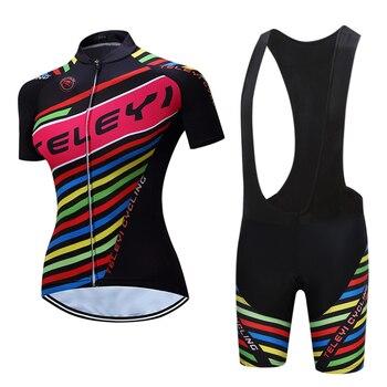 Ropa Hombre 2018 Verão Mulheres TELEYI Pro Equipe de Ciclismo Jersey bicicleta Vestuário maillot mujer Respirável mangas Curtas Definidos