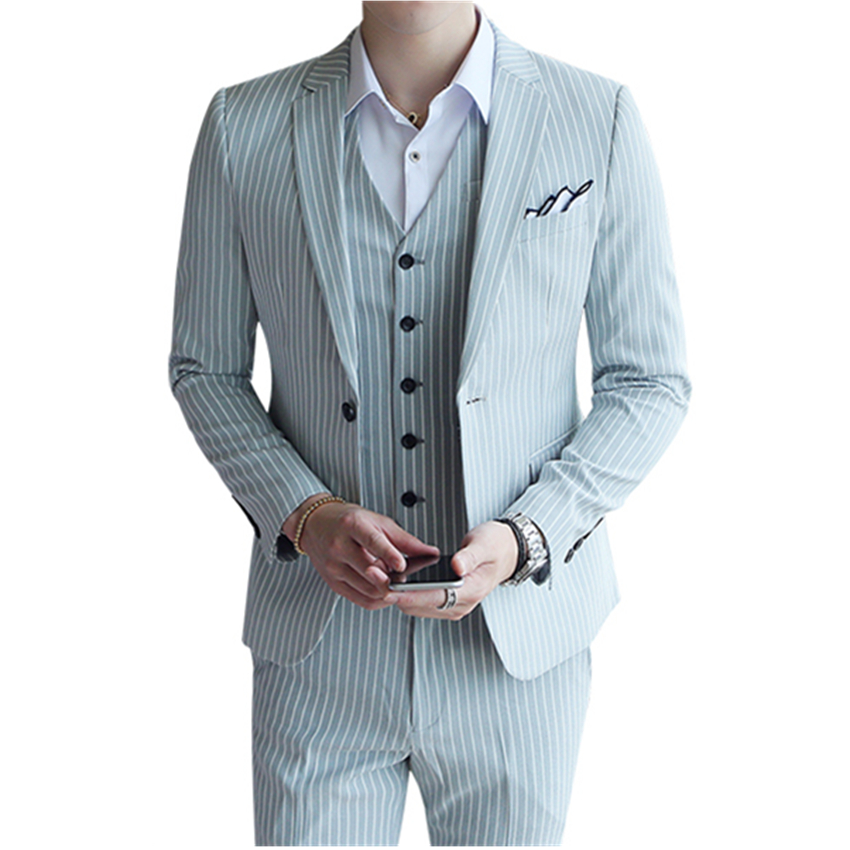 Mens Suit Three-piece Sets Business Banquet Wedding Dress Man Four Seasons Can Wear High-end Men Blazer Suits Size S 3XL
