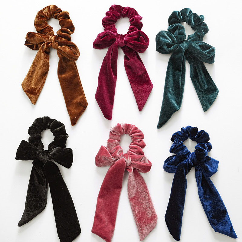 Velvet  Long Bow Ponytail Scruncies Hair Holder Stretchy Elastic Hair Band For Women Hair Accessories