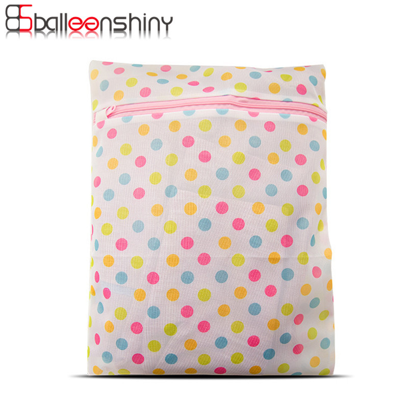 BalleenShiny Travel Carrying 1pcs Dot Laundry Bags With Zipper Polyester Clothes Underwear Dirty Clothing Washing Bag Organizer ...