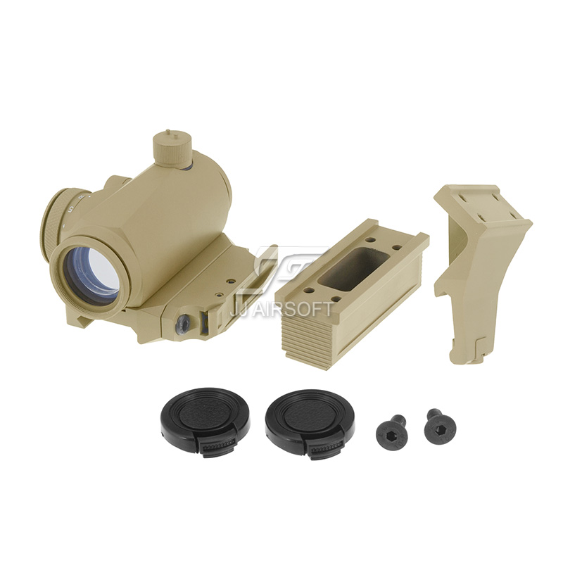 JJ Airsoft Micro 1x24 Red Dot with 45 degree Offset Mount,Bobro Style QD Low Mount and Riser (Tan)