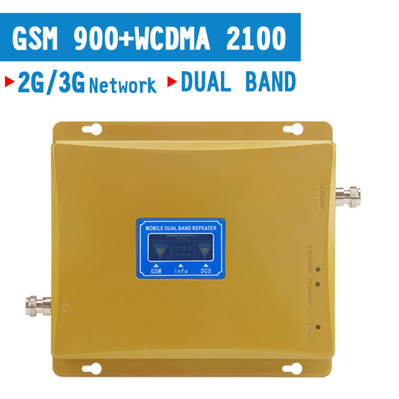 2G 3G GSM 900MHz Repeater 3G WCDMA 2100MHz Cellular Signal Amplifier UMTS Repetidor 2G 3G Dual Band Cell Phone Booster Kit