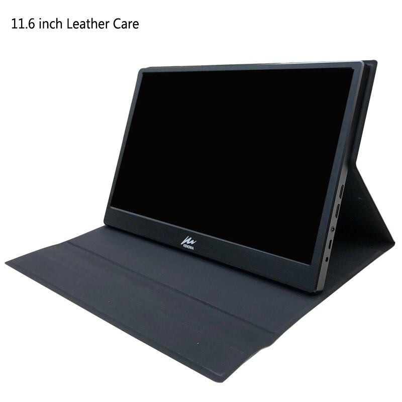 11,6 Zoll Tragbare Leder Fall Für Schutz Monitor Stand Loch Schreibtisch Spezielle Für Ips Lcd Display Dock Stehen