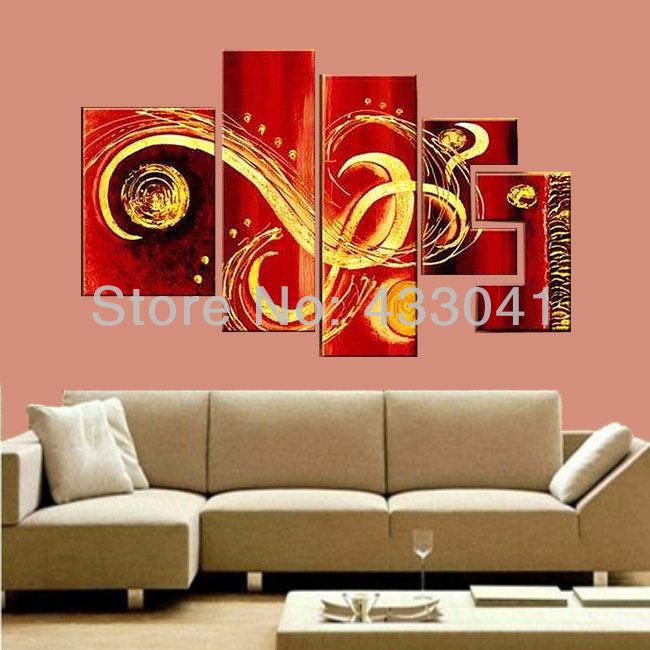 Home Office Sets Painted Office 5 Piece: 5 Piece Canvas Art Sets Hand Painted Modern Abstract Red