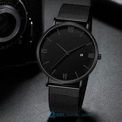 Preto Relógio De Pulso Dos Homens Relógios de Marca Vestido de Negócios relógio de Pulso Masculino de Aço Inoxidável Relógio de Quartzo Para Homens Relógio Horas Com Calendário