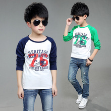 Boy Print Blouse Letter Printed Patchwork Fashion Blouses Boys Teenage T-Shirts 100% cotton Baby Girls Boys Tops Kids Vestido