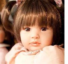 24 Inch Bebe reborn Baby doll lifelike alive soft Body Silicone Long Hair Girl Dolls pink Kids Christmas Gift Feel comfortable