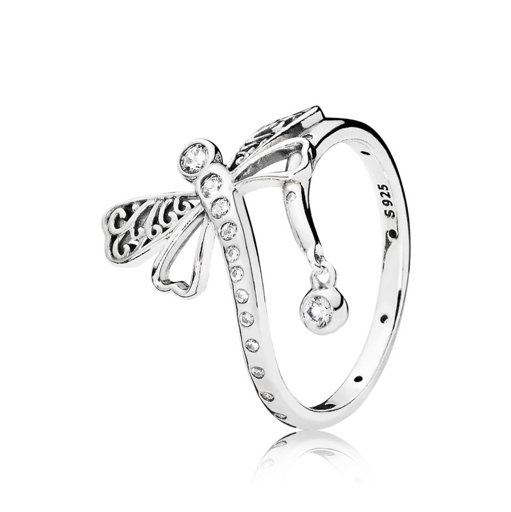 2018 Hot Sale spring New Classic Real 925 sterling silver Clear CZ DREAMY DRAGONFLY RING For women pando Ring Fine jewelry