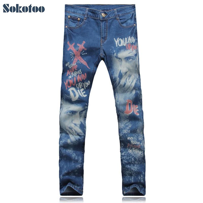 ФОТО Sokotoo Men's fashion print jeans Male swords smoke man colored drawing slim denim pants Blue trousers Free shipping