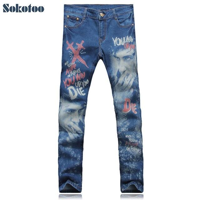 d4bdba22d € 23.65 10% de réduction Sokotoo homme mode imprimé jeans homme épées fumée  homme couleur dessin slim denim pantalon bleu pantalon livraison ...