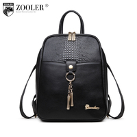 Zooler Luxury Brand Women Leather Handbag First Layer Leather Backpack Versatile Single Shoulder Messenger Bag