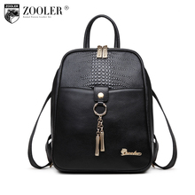 Zooler Genuine leather Backpack women schoolbag kanken backpack  female backpacks Solid Girls School Bags for Girl Black 2108