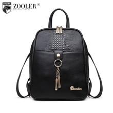 Zooler Genuine leather Backpack women schoolbag kanken backpack  female backpacks Solid Girls School Bags for Girl Black 2108