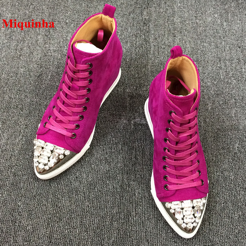 2018 Spring Casual Shoes Women Red Crystal Designer Pointed Toe Lace Up Height Increasing Women Shoes High Top Women Wedges Rome rome top 10