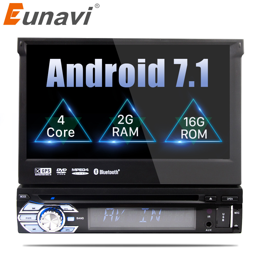 Eunavi 7'' Universal 1 din Android 7.1 Quad Core Car DVD player GPS Navigation with Wifi Radio 2GB RAM 16GB Steering wheel RDS