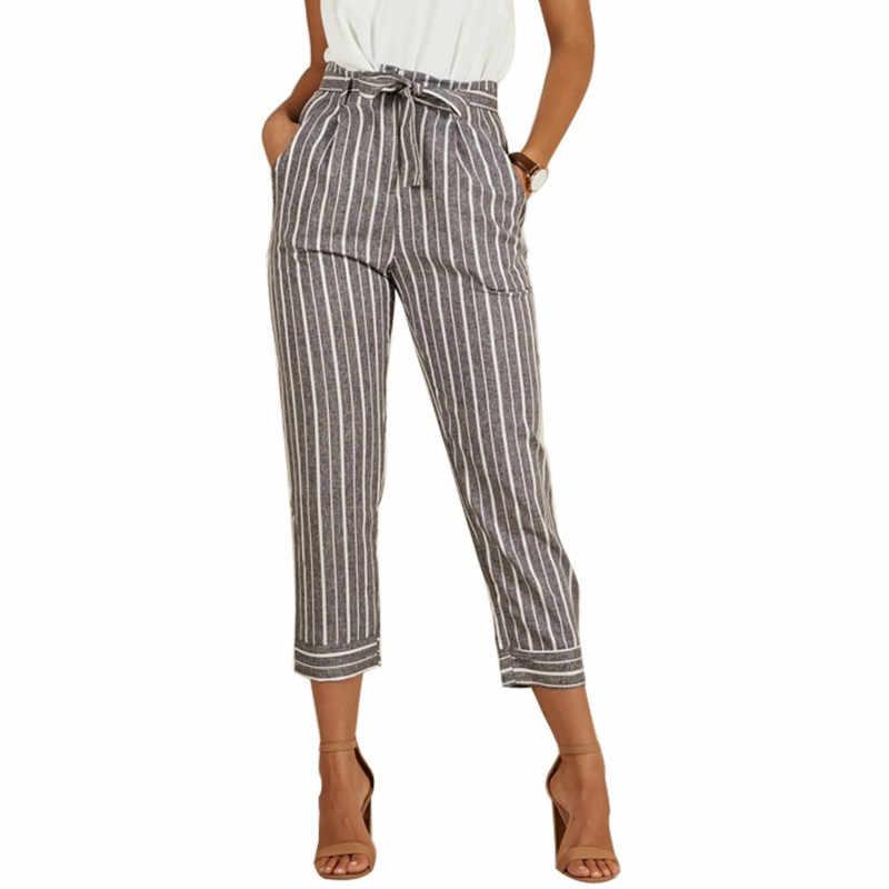 b64611fd611 Casual High Waist Striped Nine Pants Women Clothes 2018 Ladies Lace Up Slim  Trousers Pantalon Taille