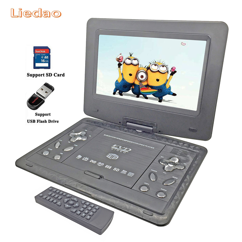 Liedao 13.9inch Portable DVD Player Rechargerable Battery Game Player Radio Portable Analogue TV AV SD / MS / MMC Card Reader free shipping to ru 7 inch portable dvd player with game and tv function game function support sd ms mmc card