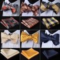 Проверить Классический 100% шелк жаккард Тканые для мужчин бабочка самостоятельно галстук бабочкой карман квадратный платок костюм комплект # RC3 - фото