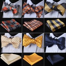 Check Classic 100%Silk Jacquard Woven Men Butterfly Self Bow Tie BowTie Pocket Square Handkerchief Suit Set #RC3(China)