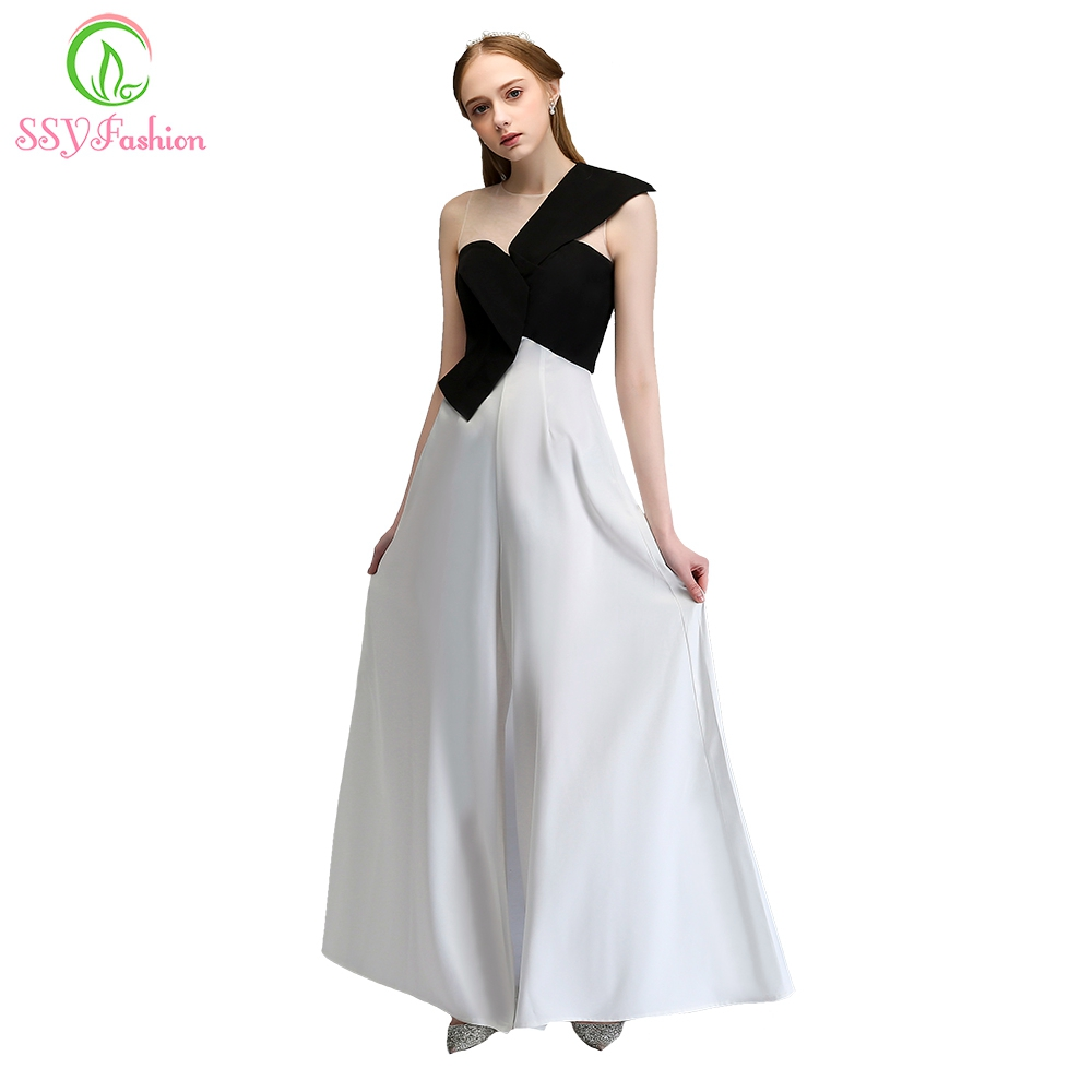 fd2948bdd0 US $55.0 |Clearance Evening Dress The Banquet Simple White with Black  Contrast Color Pants Prom Party Gown Robe De Soiree-in Evening Dresses from  ...