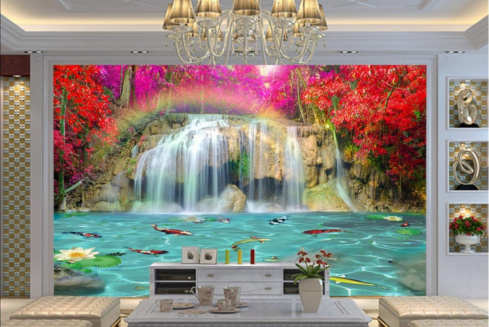 Custom 3d mural Rainbow Waterfall Lotus Pool Background Wall 3d stereoscopic wallpaper for bedroom walls zndiy bry mini led sunflower effect 8w 48 led rgb voice activated stage party light us plug
