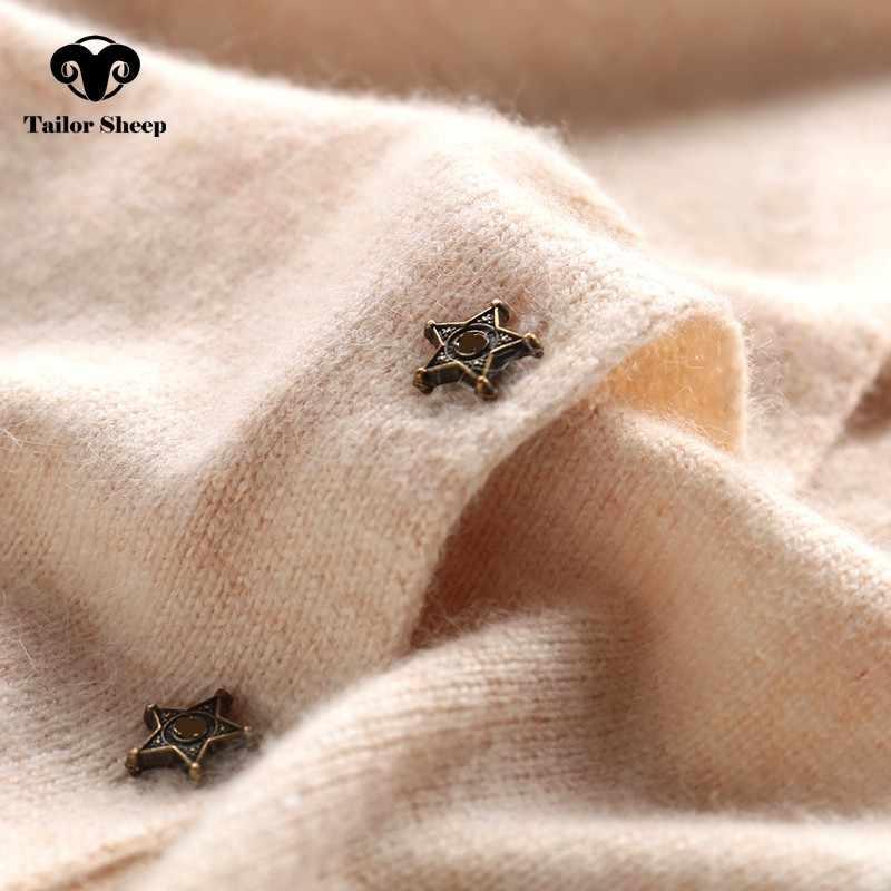Estrela fivela 100% cashmere cardigan feminino fino casaco curto seção outono gola em v manga comprida camisola feminina outwear