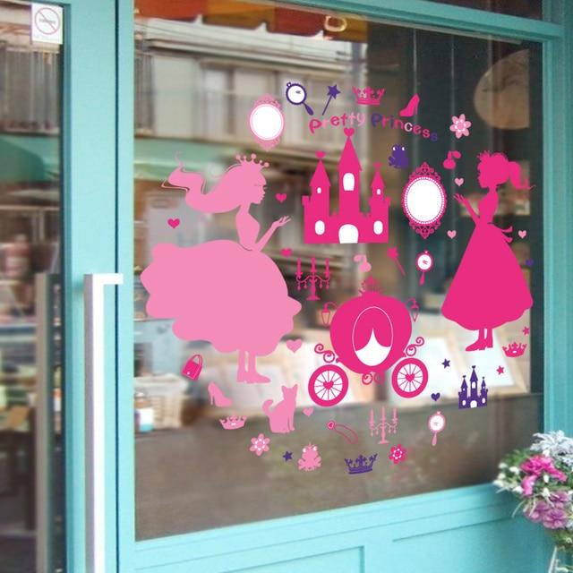 window stickers pink color princess castle cartoon stickers for baby marketkids livingroom muurstickers home