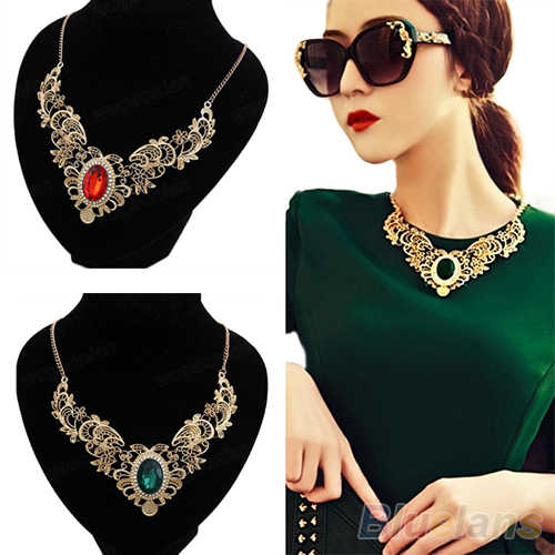 New Luxury New Women's Lady  Crystal Hollow Out Flower Pattern Choker Bib Necklace Red Green Hot Selling 1NUH 6ORV