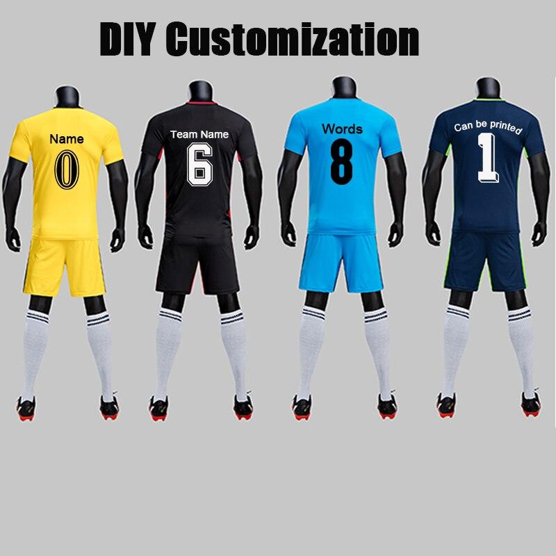 f72ad0782 Adult Kids Sizes Customized Print Soccer Jerseys Set Short Sleeve Teams Uniforms  Football kit Youth Boy